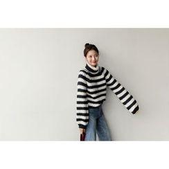UPTOWNHOLIC - Turtle-Neck Striped Knit Top