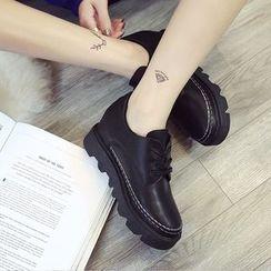 Kicko - Hidden Wedge Platform Lace-Up Shoes
