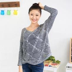 59 Seconds - Melange Open-Knit Sweater