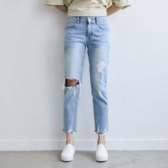 JUSTONE - Cutout-Knee Distressed Washed Tapered Jeans