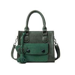 LINGLAN - Tasseled Faux Leather Satchel