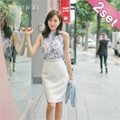 Styleberry - Set: Sleeveless Floral Print Top + Pencil Skirt with Belt