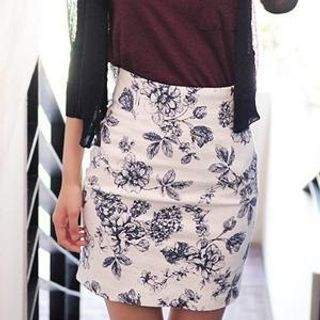 MASoeur - Floral Print Pencil Skirt