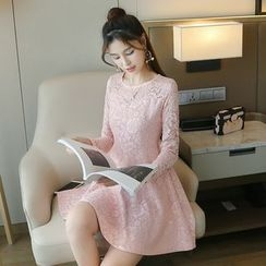 Sienne - Long-Sleeve Lace A-line Dress