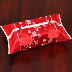 Sun East - Tasseled Floral Panel Tissue Box