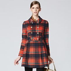 O.SA - Double-Breasted Plaid Coat
