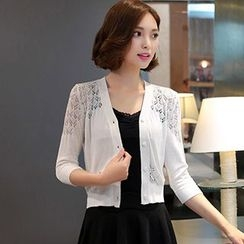 Ageha - 3/4 Sleeve Lace Knitting Panel Cardigan