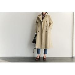 UPTOWNHOLIC - Double-Breasted Flap-Front Trench Coat