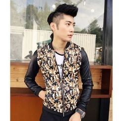 Hawoo - Faux-Leather Camouflage Jacket