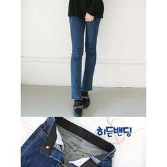 LOLOten - Fray-Hem Washed Slim-Fit Jeans