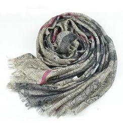羚羊早安 - 流蘇印花羊毛圍巾