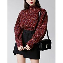FROMBEGINNING - Mandarin-Collar Corduroy Shirt