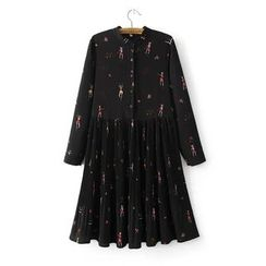 Angel Love - Long-Sleeve Printed Pleated Dress