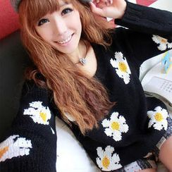JVL - Round-Neck Flower Sweater
