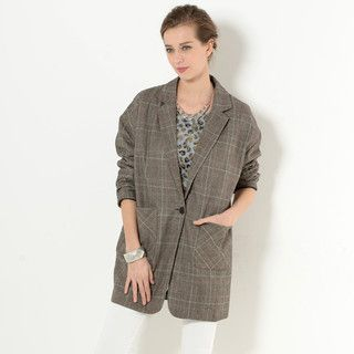 YesStyle Z - Single-Button Plaid Jacket