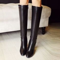 Gizmal Boots - Chunky Heel Pointy Tall Boots