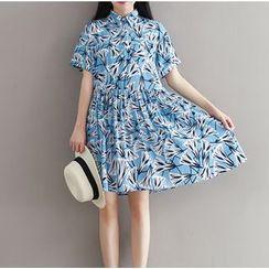 Clover Dream - Short-Sleeve Floral Pleated Dress