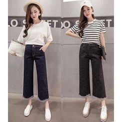 OGAWA - 宽腿八分牛仔裤