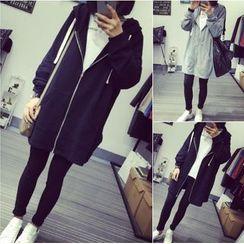 COOKIS - Plain Long Hooded Jacket