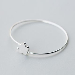 A'ROCH - 925 Sterling Silver Flower Open Bangle