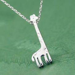 Blinglitz - 925 Sterling Silver Giraffe Necklace