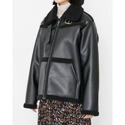Someday, if - Bucked-Neck Faux-Shearling Jacket