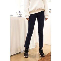 CHERRYKOKO - Fray-Hem Straight-Cut Jeans