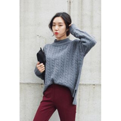 OZNARA - Mock-Turtleneck Cable-Knit Sweater