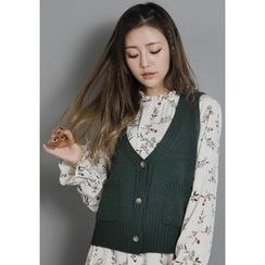 GOROKE - V-Neck Dual-Pocket Buttoned Cardigan