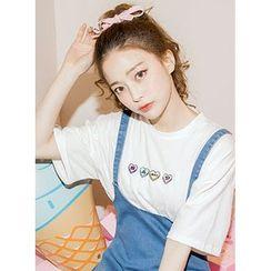 icecream12 - Crewneck Heart Embroidered T-Shirt