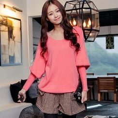 OrangeBear - Tie-Back Dolman-Sleeve Knit Top