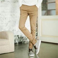 TOMONARI - Band Waist Colored Slim-Fit Pants