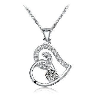 BELEC - 925 Sterling Silver CZ (cubic Zirconia) Crystal Pendant with 45cm Necklace