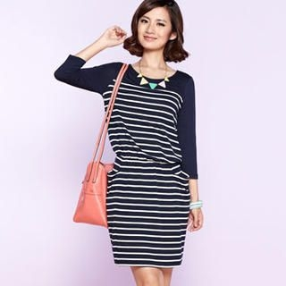 Moonbasa - 3/4-Sleeve Striped Panel Dress