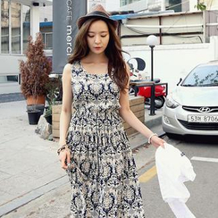 REDOPIN - Jacquard Print Sleeveless Maxi Dress