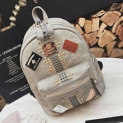 Coxchamp - Patch Embroidered Studded Backpack