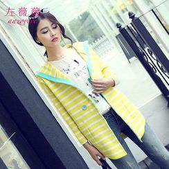 anzoveve - Striped Hooded Long Cardigan