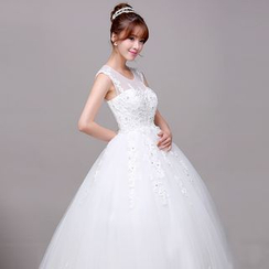 Galsnow - Maternity Wedding Sleeveless Embroiderd Ball Gown