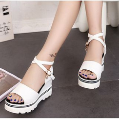 BAYO - Platform Wedge Cross Strap Sandals