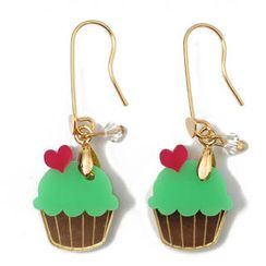 Sweet & Co. - Sweet&Co Mini Gold Green Cupcake Crystal Earrings