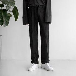 Seoul Homme - Belted Straight-Cut Pants