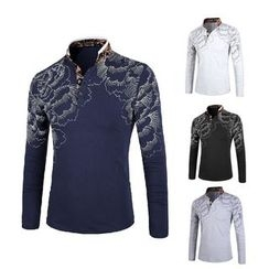 Blueforce - Printed Stand Collar Long-Sleeve T-Shirt