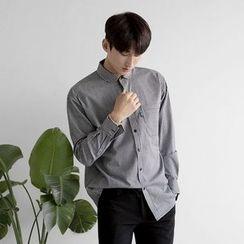 Seoul Homme - Round-Collar Striped Shirt