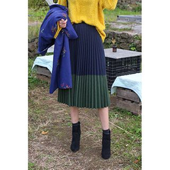 migunstyle - Color-Block Pleated Long Skirt