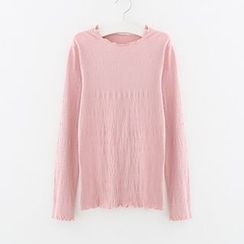 Meimei - Shirred Frill Trim Long-Sleeve Top