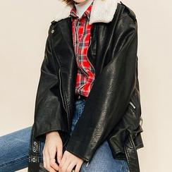 Heynew - Fleece Collar Faux Leather Biker Jacket