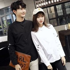 Je T'aime - Couple Matching Bird Embroidered Band Collar Long-Sleeve Shirt