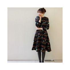 LEELIN - Printed A-Line Midi Dress