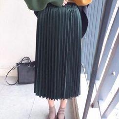 Moon City - Velvet Pleated Midi Skirt
