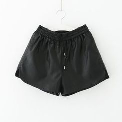 Meimei - Faux Leather Drawstring Shorts